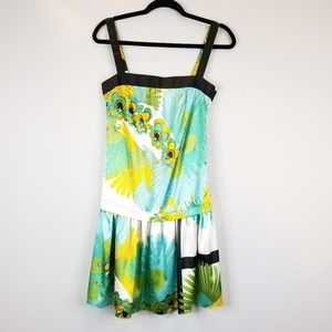 Zara Basic Tropical Print Drop-waist Dress